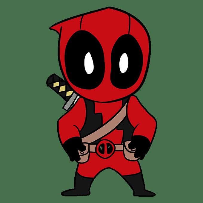 Cách vẽ Chibi Deadpool: Bước 10