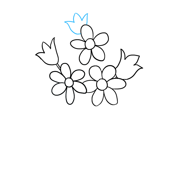 Cách vẽ bó hoa: Bước 5