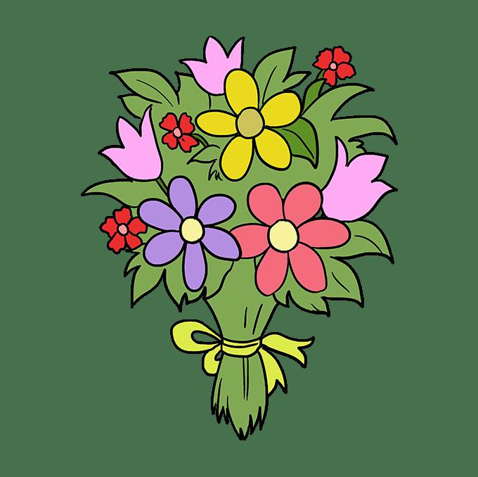 Cách vẽ bó hoa: Bước 10