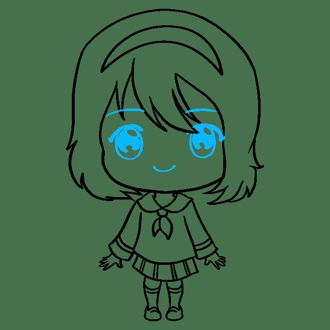 Cách vẽ Anime Chibi Girl: Bước 9