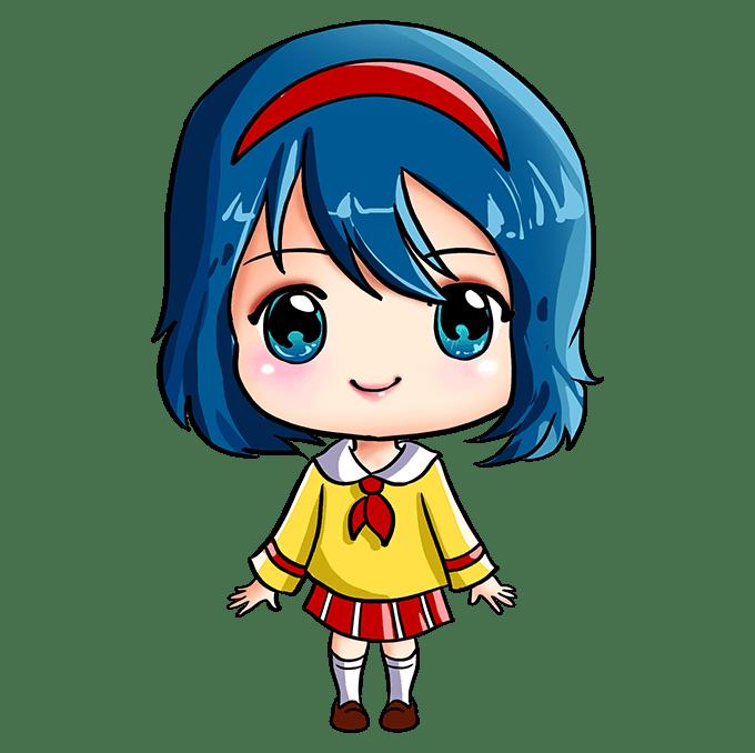 Cách vẽ Anime Chibi Girl: Bước 10