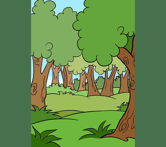 Cách vẽ rừng phim hoạt hình: Bước 20
