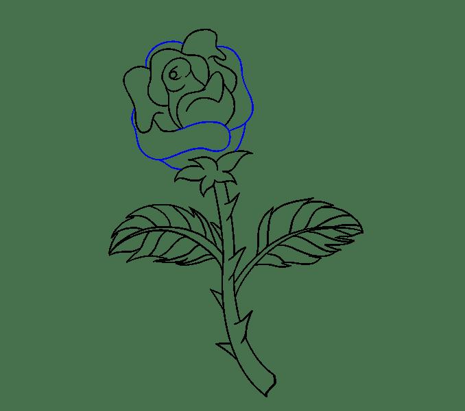 Cách vẽ hoa hồng bằng thân cây: Bước 17