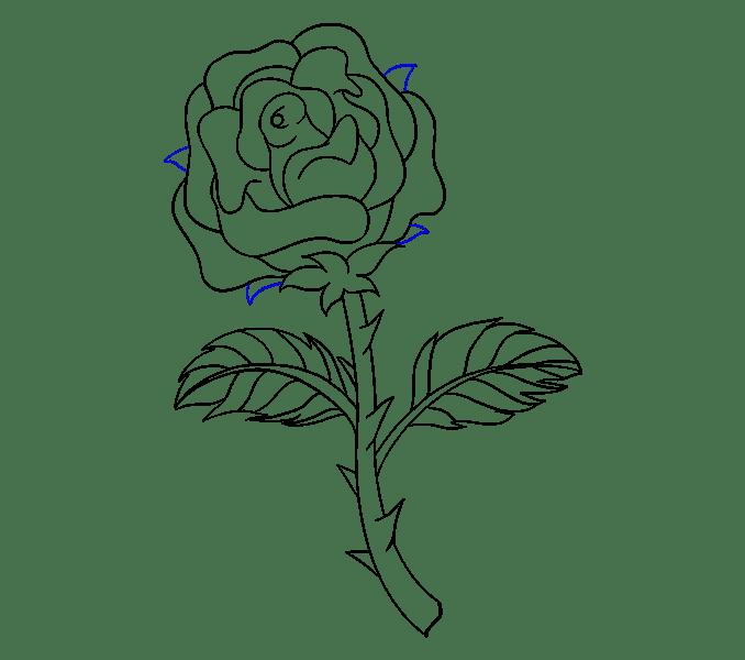 Cách vẽ hoa hồng bằng thân cây: Bước 19