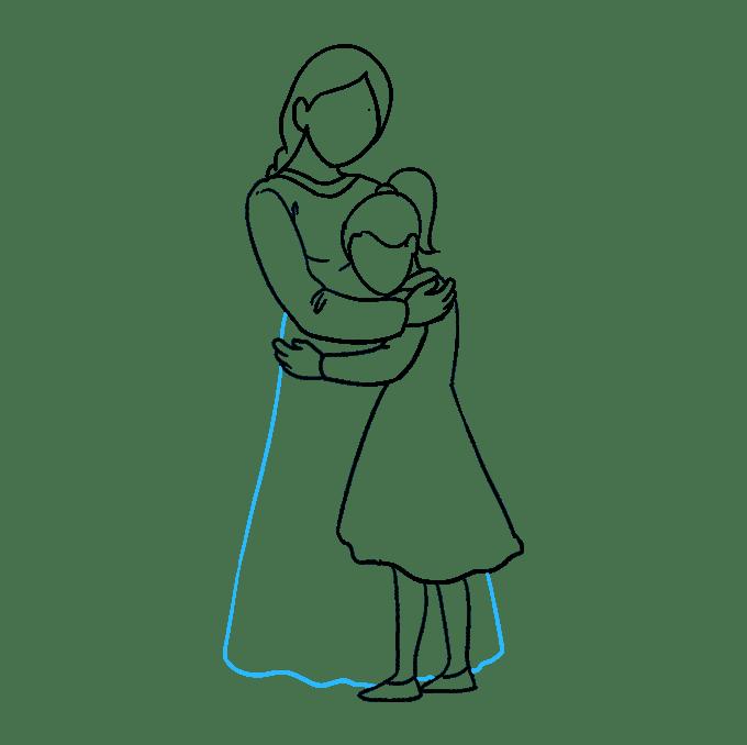Cách vẽ mẹ ôm con gái: Bước 7