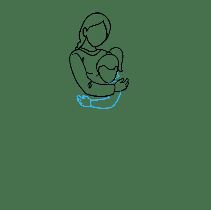 Cách vẽ mẹ ôm con gái: Bước 4