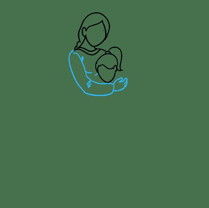 Cách vẽ mẹ ôm con gái: Bước 3