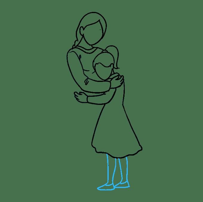 Cách vẽ mẹ ôm con gái: Bước 6