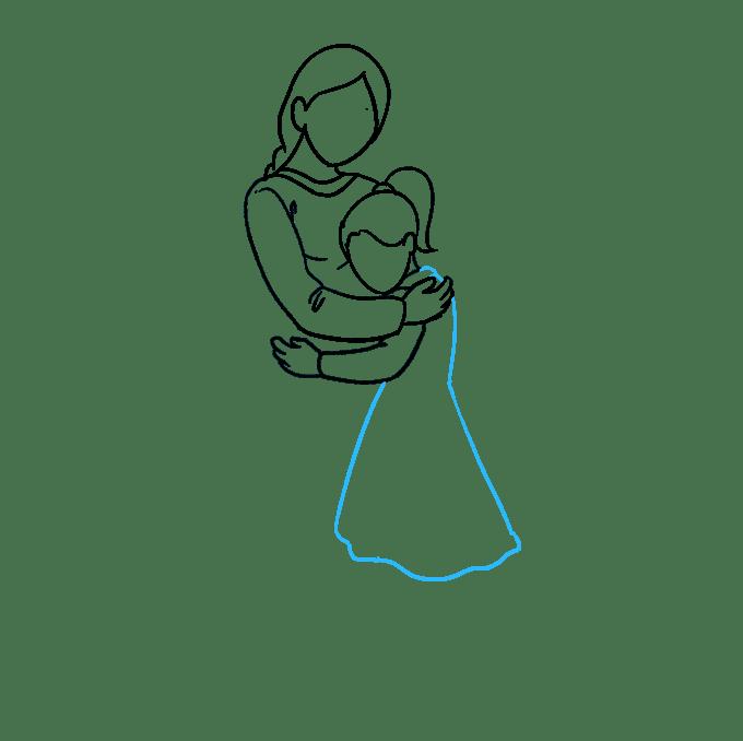 Cách vẽ mẹ ôm con gái: Bước 5