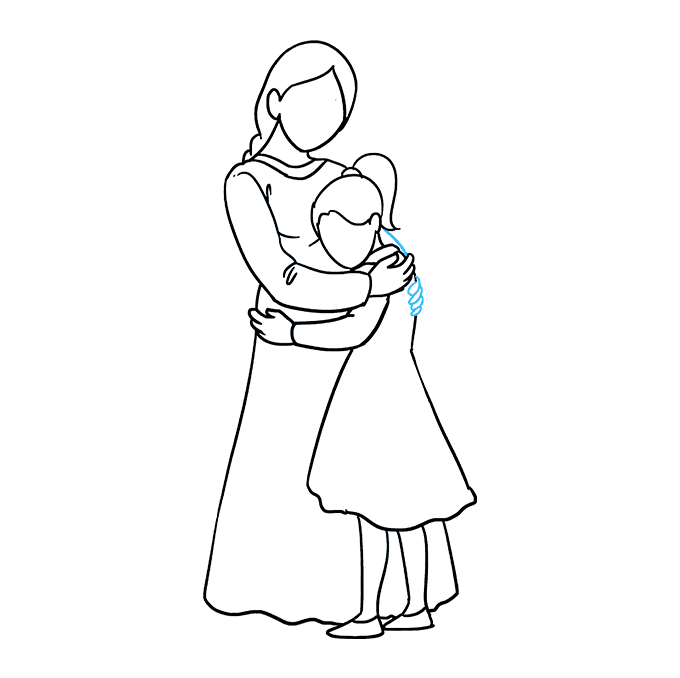 Cách vẽ mẹ ôm con gái: Bước 8