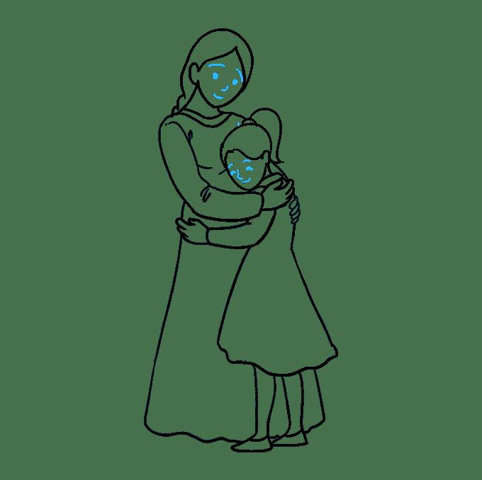 Cách vẽ mẹ ôm con gái: Bước 9