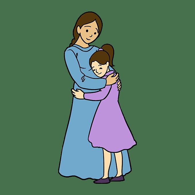 Cách vẽ mẹ ôm con gái: Bước 10
