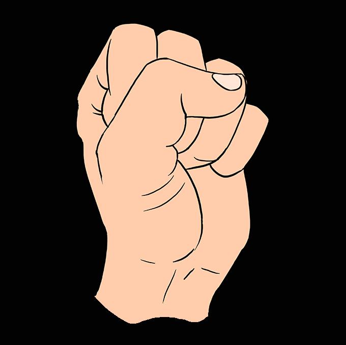 Cách vẽ nắm tay: Bước 10