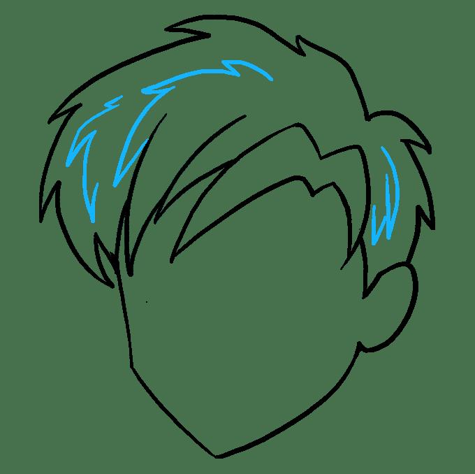 Cách vẽ tóc Manga: Bước 9