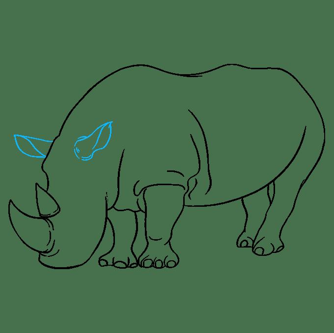 Cách vẽ tê giác: Bước 8