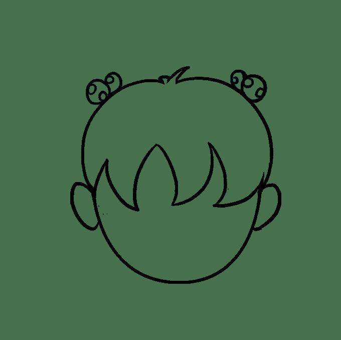 Cách vẽ tóc hoạt hình: Bước 7