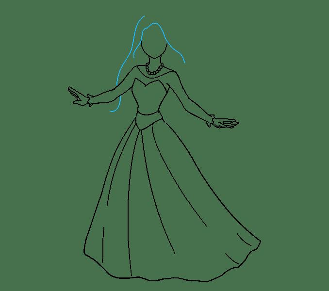 Cách vẽ công chúa hoạt hình: Bước 12