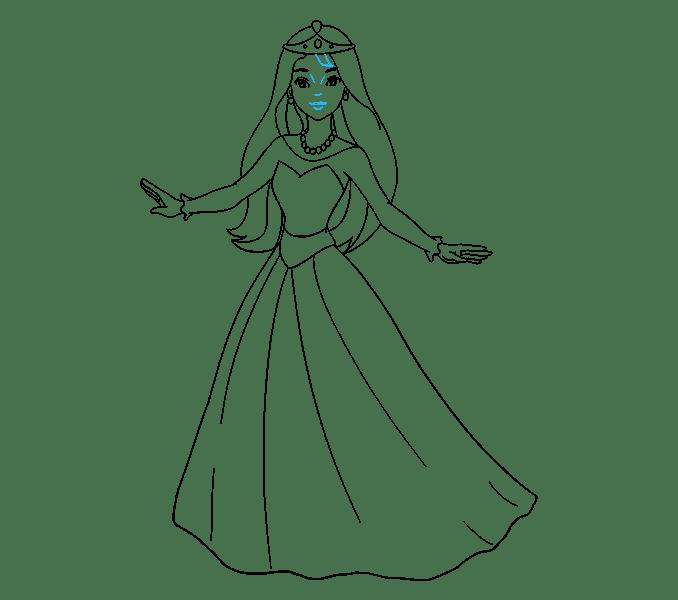 Cách vẽ công chúa hoạt hình: Bước 16