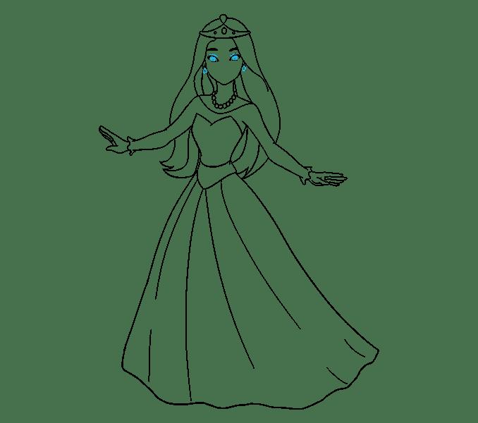 Cách vẽ công chúa hoạt hình: Bước 18