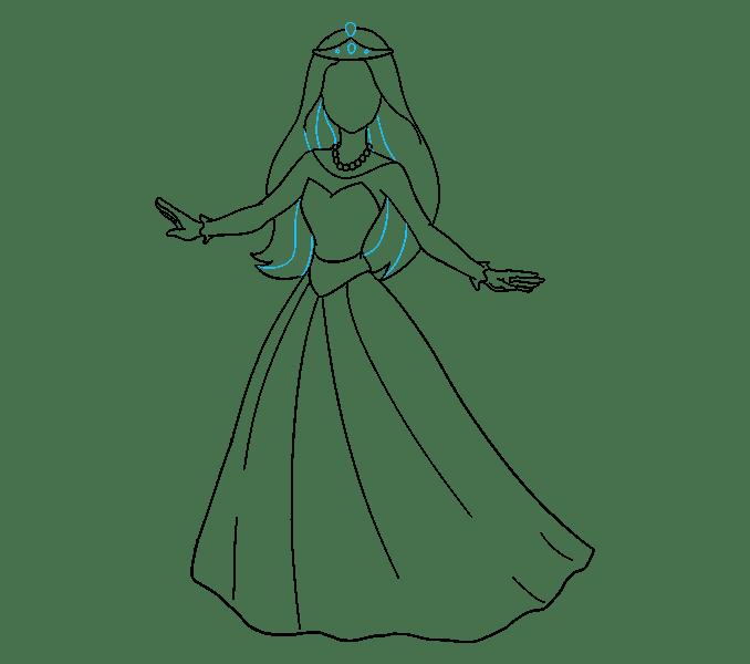 Cách vẽ công chúa hoạt hình: Bước 15