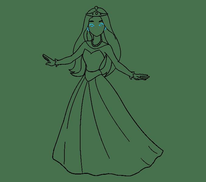 Cách vẽ công chúa hoạt hình: Bước 17