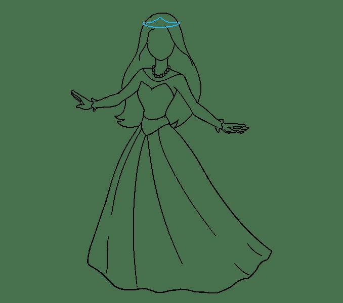 Cách vẽ công chúa hoạt hình: Bước 14