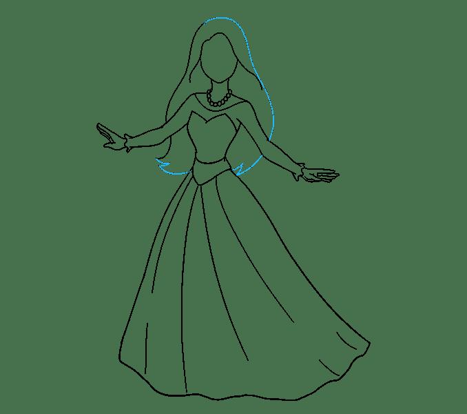 Cách vẽ công chúa hoạt hình: Bước 13