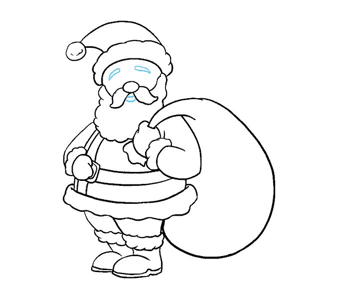 Cách vẽ ông già Noel: Bước 18