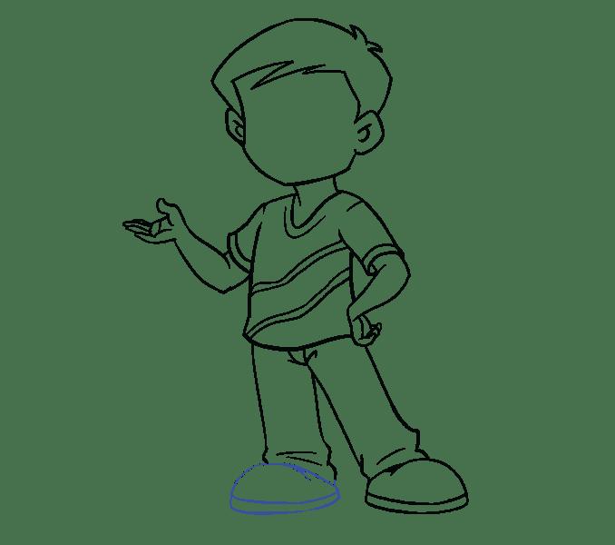 Cách vẽ cậu bé: Bước 16