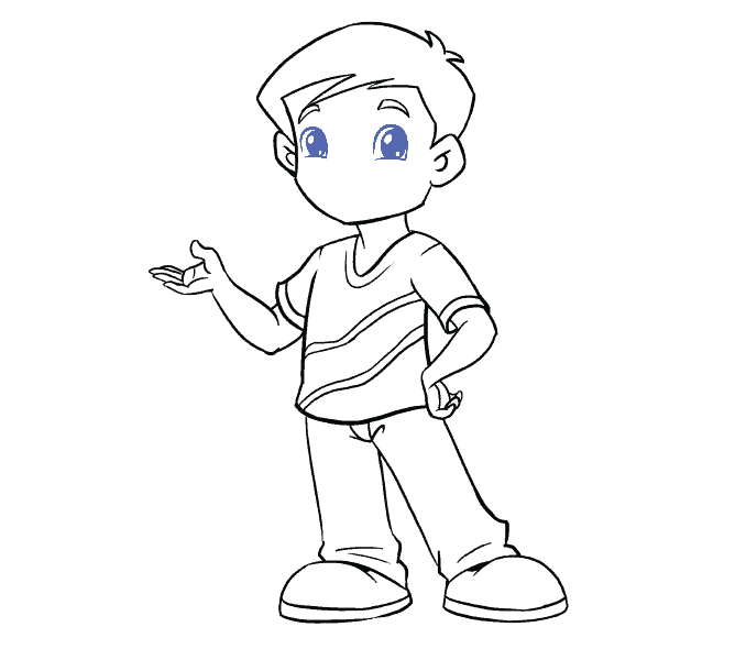 Cách vẽ cậu bé: Bước 18
