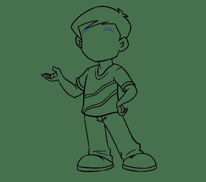 Cách vẽ cậu bé: Bước 17