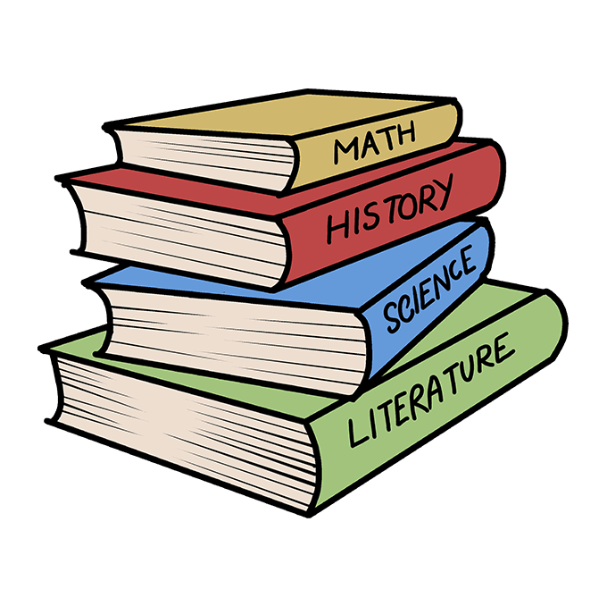 Cách vẽ sách học: Bước 10