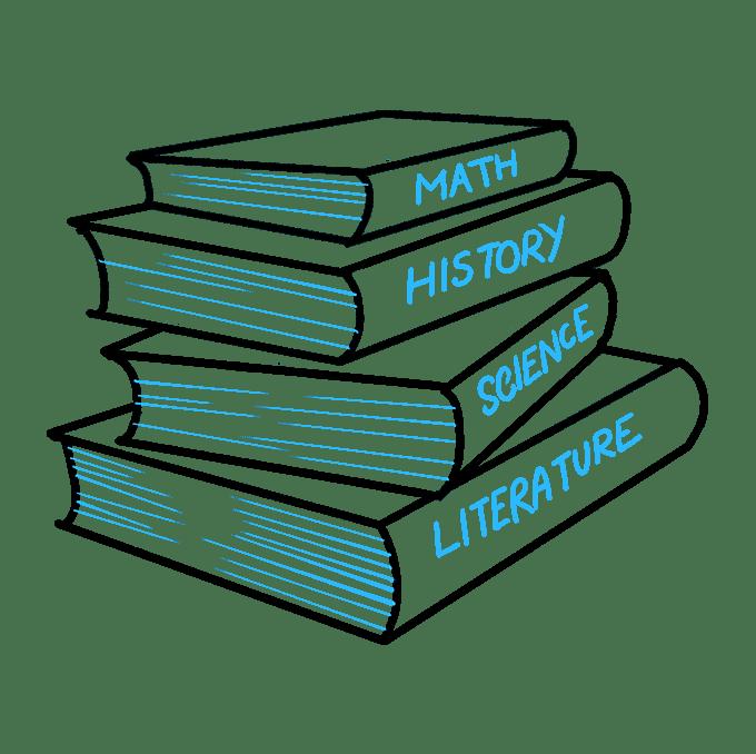 Cách vẽ sách học: Bước 9