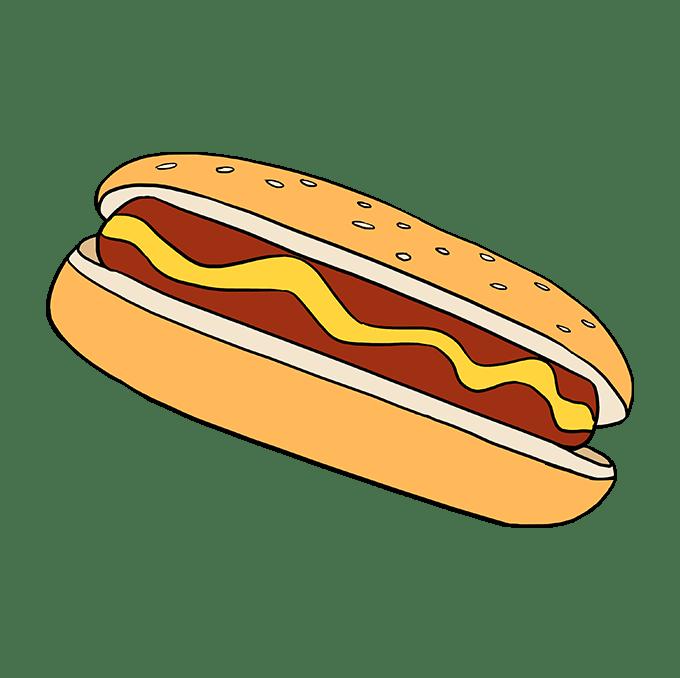Cách vẽ Hot Dog: Bước 10