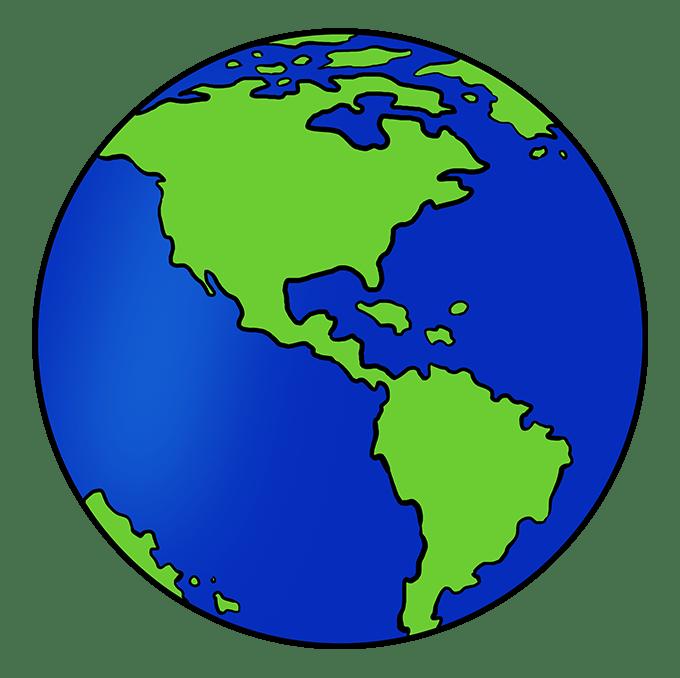 Cách vẽ Trái đất: Bước 10