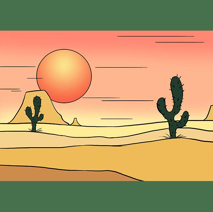 Cách vẽ sa mạc: Bước 10
