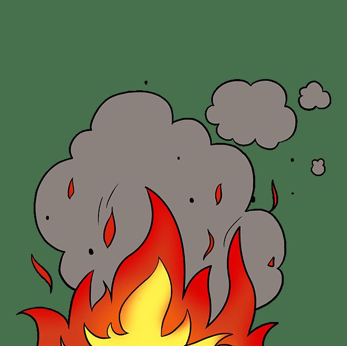 Cách vẽ ngọn lửa và khói: Bước 10