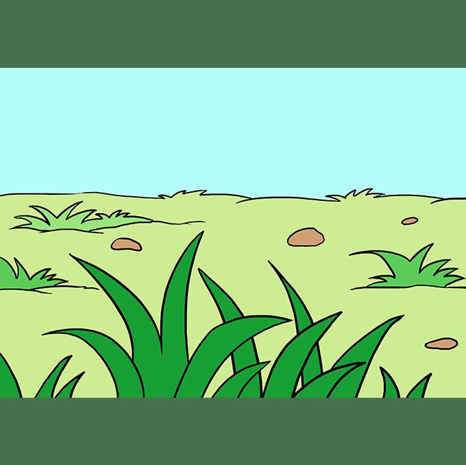 Cách vẽ cỏ: Bước 10