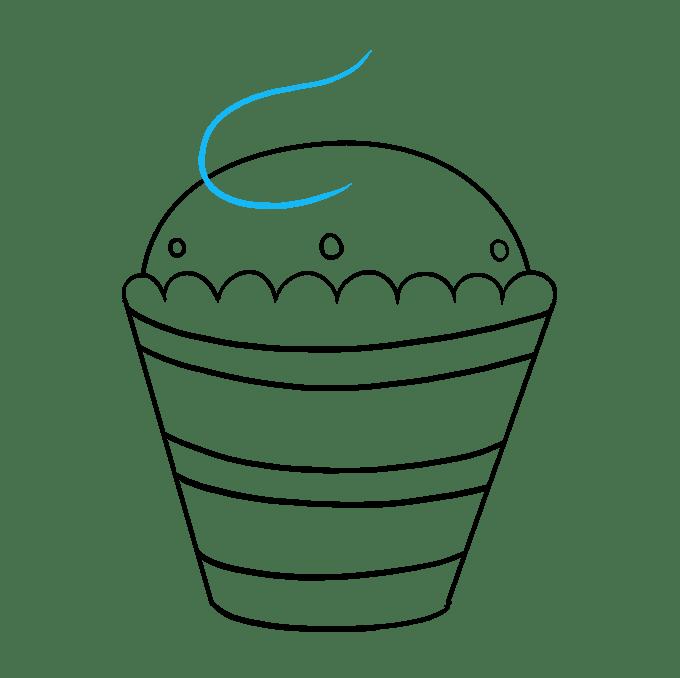 Cách vẽ Cupcake: Bước 8