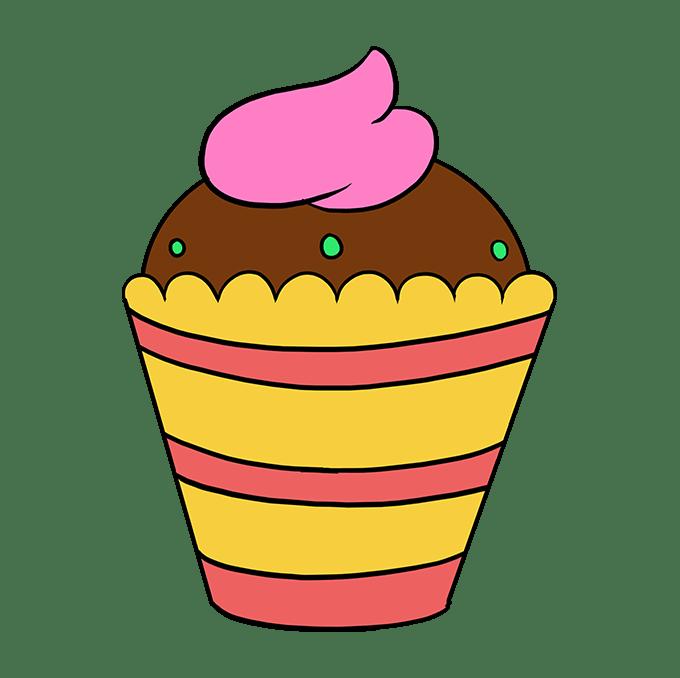 Cách vẽ Cupcake: Bước 10