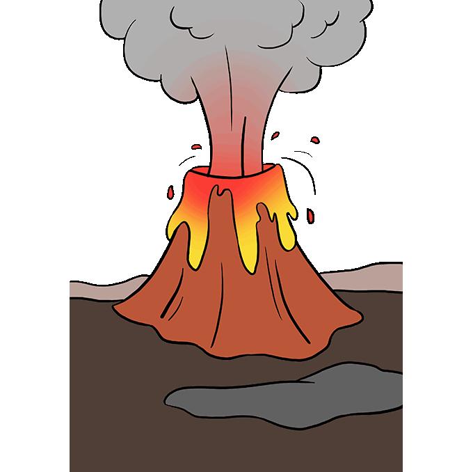 Cách vẽ núi lửa: Bước 10