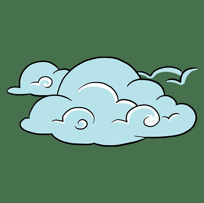 Cách vẽ mây: Bước 10