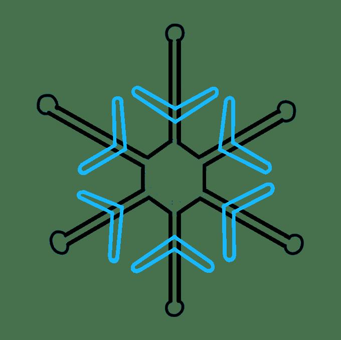 Cách vẽ bông tuyết: Bước 7
