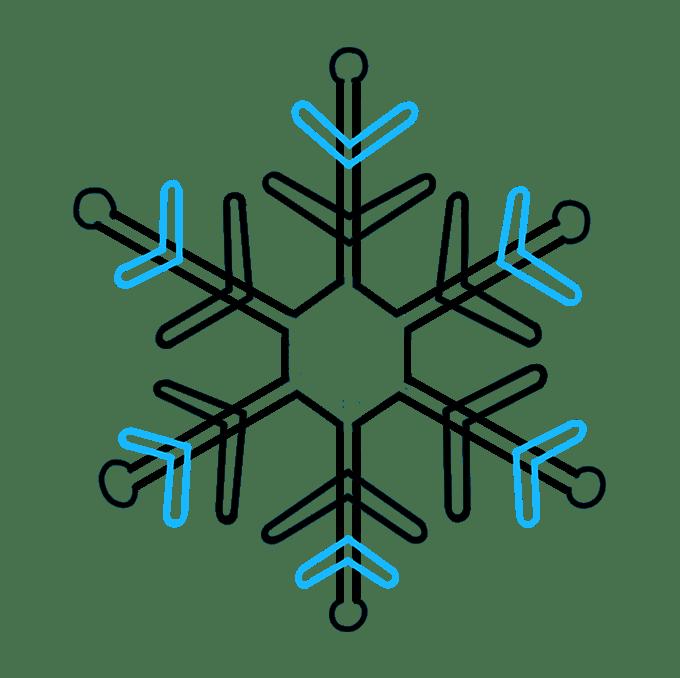 Cách vẽ bông tuyết: Bước 3