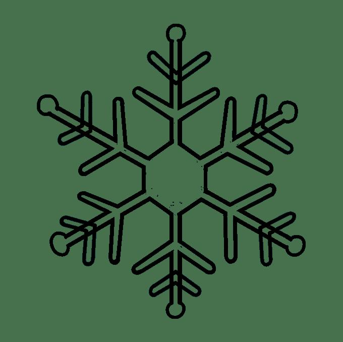 Cách vẽ bông tuyết: Bước 9