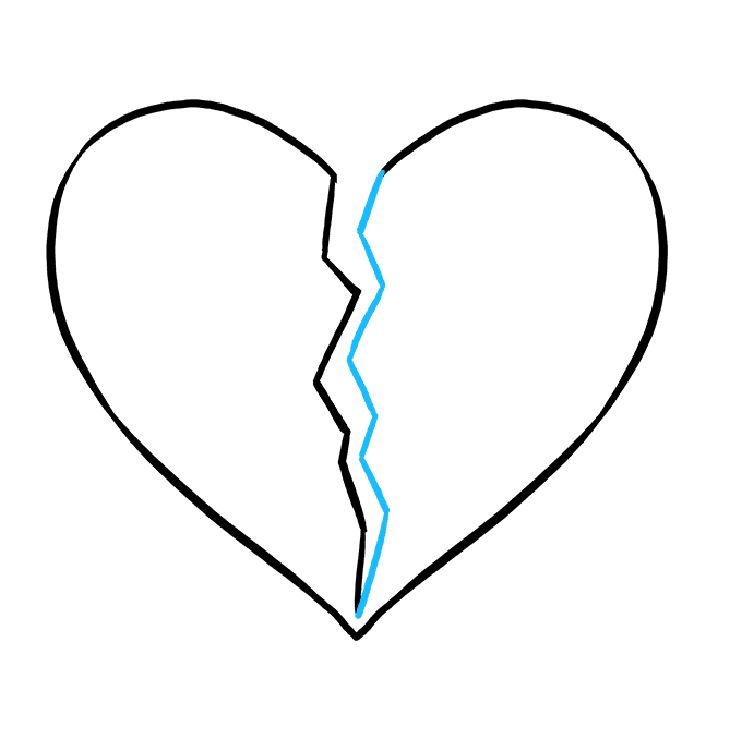 Cách vẽ trái tim tan vỡ: Bước 4