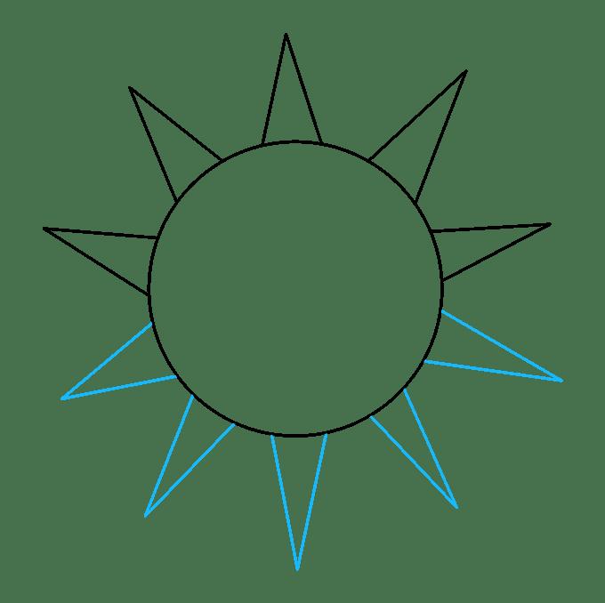 Cách vẽ mặt trời: Bước 3