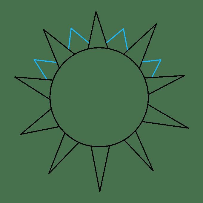 Cách vẽ mặt trời: Bước 4