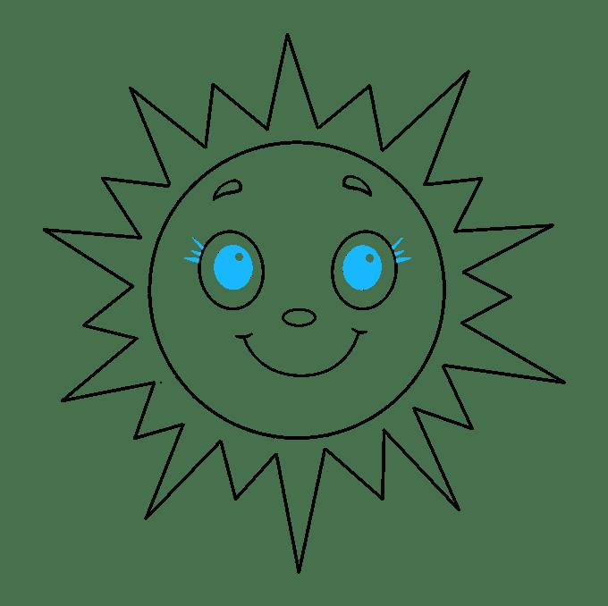 Cách vẽ mặt trời: Bước 9