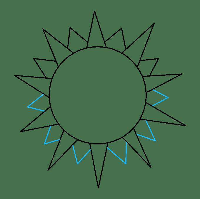 Cách vẽ mặt trời: Bước 5